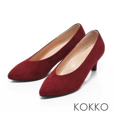 KOKKO-復古雅緻尖頭深V羊麂皮高跟鞋-紅