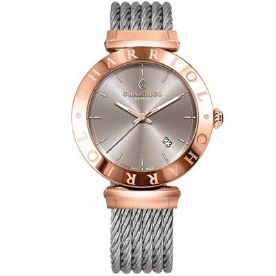 CHARRIOL夏利豪 亞歷山大系列鋼索腕錶-古銅面40mm