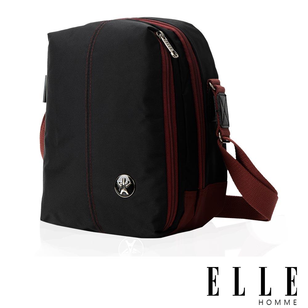 ELLE HOMME 時尚巴黎風格 直立多層置物側背包(大) 輕量防潑水設計款-黑