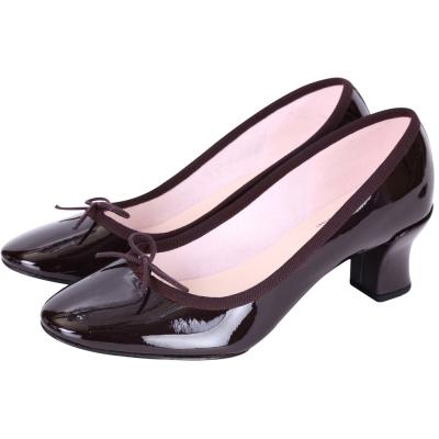 Repetto CLARA 漆皮蝴蝶結低跟鞋(深紫色)