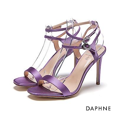達芙妮DAPHNE 涼鞋-水鑽環扣一字緞面高跟涼鞋-紫