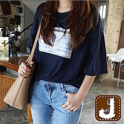 正韓 懷舊復古風燙印舒棉T-(共三色)100%Korea Jeans