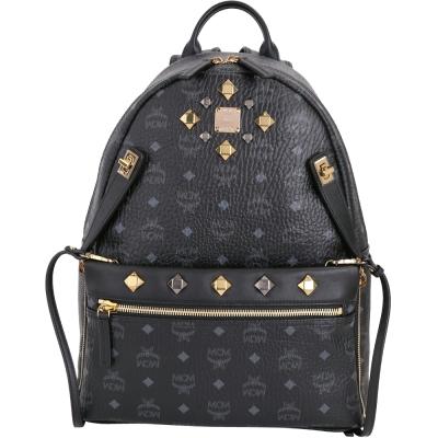 MCM DUAL STARK 品牌圖騰設計兩用後背包(中/黑色)
