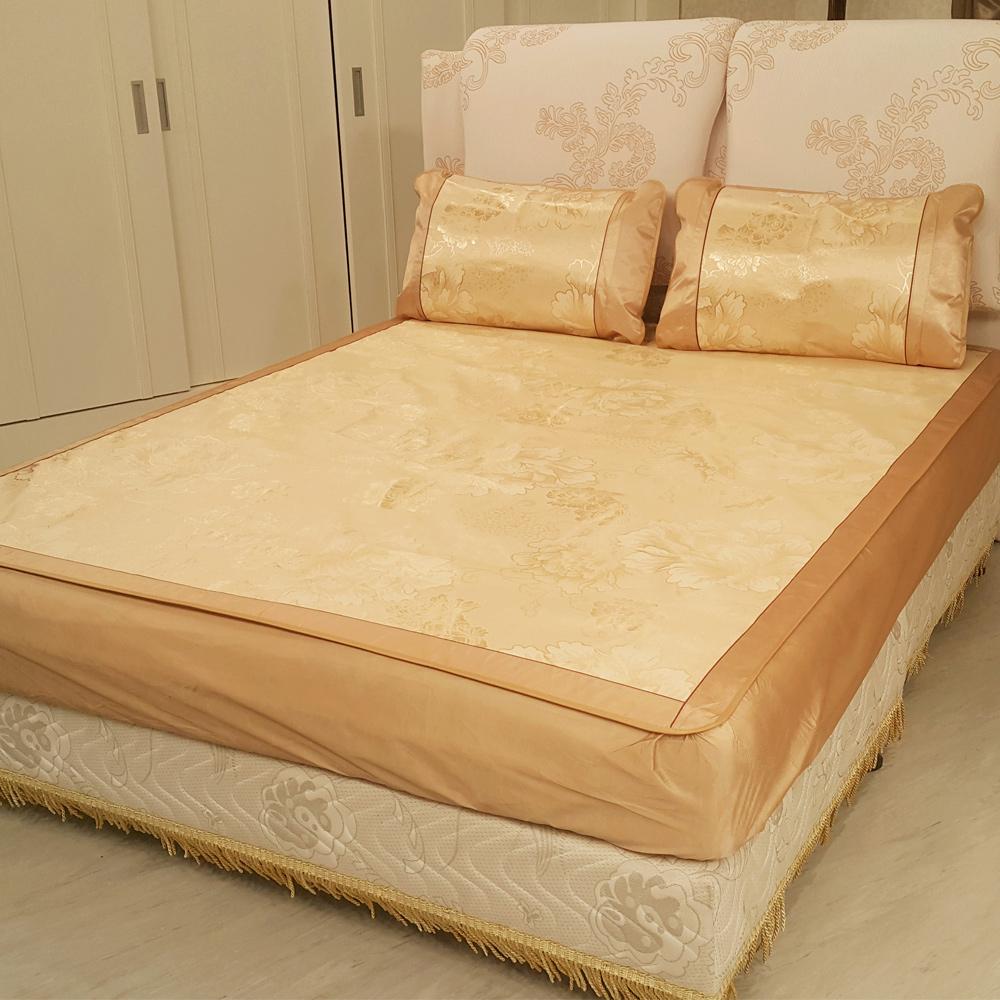 賽凡絲頂級雙人涼感冰絲床包枕套組(華麗金)
