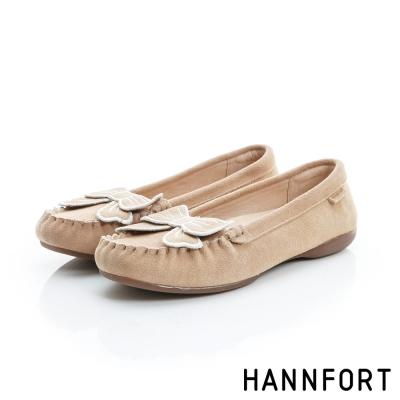 HANNFORT RIPPLE蝴蝶結真皮樂福鞋-女-淺卡其