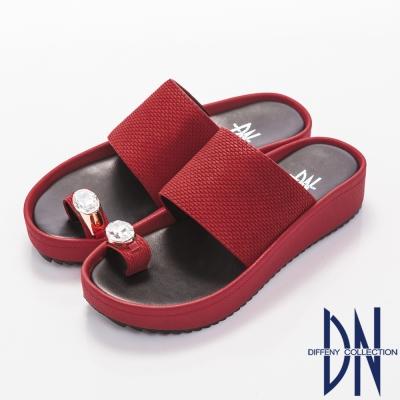 DN 光感亮麗 性感寶石飾扣夾腳厚底拖鞋~紅