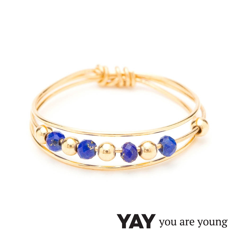 YAY You Are Young 法國品牌 Cleo 青金石戒指 三層款 金色