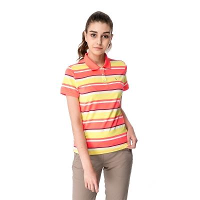 【hilltop山頂鳥】女款速乾抗UV吸濕排汗彈性POLO衫S14FC0橘條紋