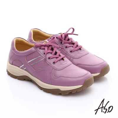 A.S.O 新一代奈米氣墊 全真皮沖孔壓紋綁帶休閒鞋 桃粉紅
