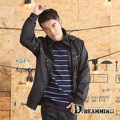 Dreamming 日系V型拼條休閒連帽運動外套-黑色