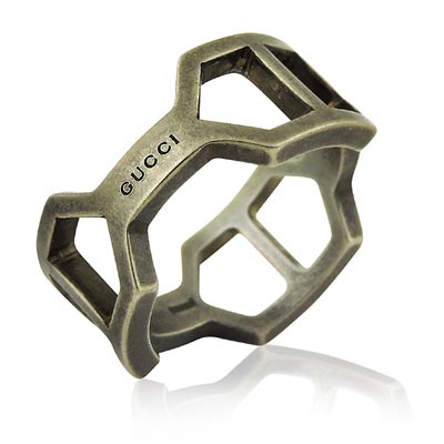 GUCCI 鏤空環釦造型純銀戒指-直徑1.93~1.96cm