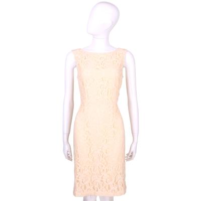 MARELLA 粉裸色織花蕾絲無袖洋裝