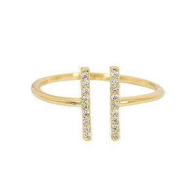 ASTRID&MIYU英國潮流品牌 開口水鑽H型可調節戒指 金色