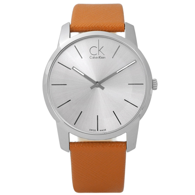 CK經典時尚大面徑弧型切面皮革手錶-銀x橘43mm