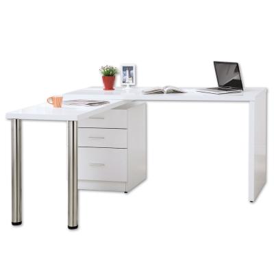 Bernice-凱希4.9尺多功能旋轉桌/工作桌(白色)-146x60~146x78cm