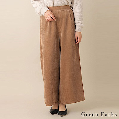 Green Parks 氣質絨面後鬆緊腰壓褶寬褲
