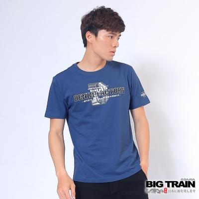 BIG TRAIN 丹寧牛仔圓領T-男-中藍
