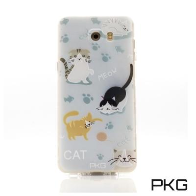 PKG Samsung C9PRO空壓氣囊保護殼-浮雕彩繪-玩耍貓