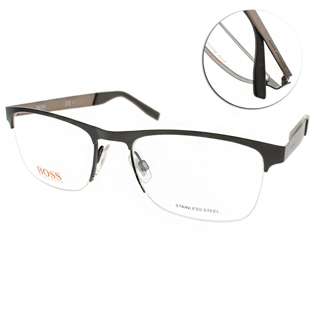BOSS ORANGE眼鏡 時尚半框款/黑-槍銀#BR0227 LFS