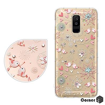 Corner4 Samsung Galaxy A6+ 奧地利彩鑽防摔手機殼-知更...