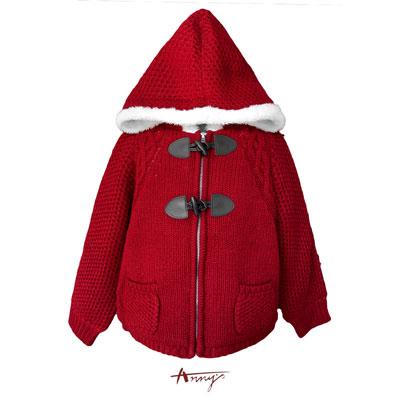 Annys童話精緻角釦刷毛內裡連帽毛衣外套*5669紅