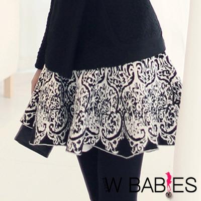 異國風花紋傘狀裙襬小短裙 (黑色)-W BABIES