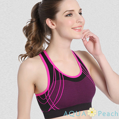 運動內衣 X型美背線條設計無鋼圈運動背心 (紫色)-AQUA Peach