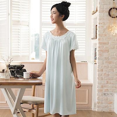 華歌爾睡衣 睡眠研究系列 薄荷紗 M-L 短袖裙裝(淺藍綠)
