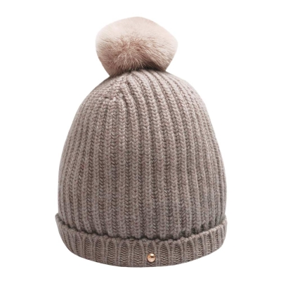 LV M75527 經典DAMIER 貂皮絨球純羊毛針織毛帽(褐灰色)