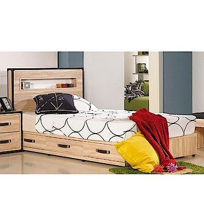 AT HOME-溫德莎3.5尺橡木紋單人床-不含床墊(106*198*110cm)