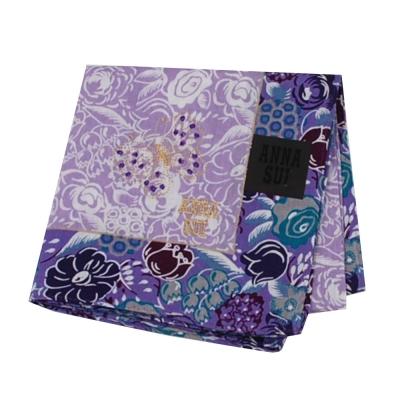ANNA SUI 繽紛花朵字母蝴蝶圖騰金色刺繡LOGO帕領巾(紫色系)