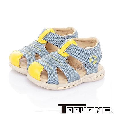 TOPUONE 手工款牛仔布減壓防滑學步涼鞋童鞋-水