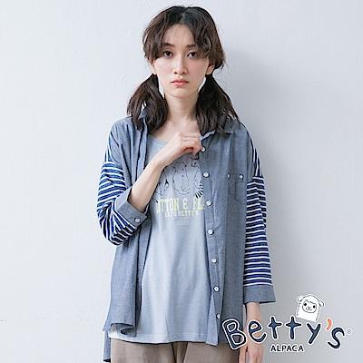 betty's貝蒂思 針織條紋拼接寬肩七分袖襯衫(深藍)