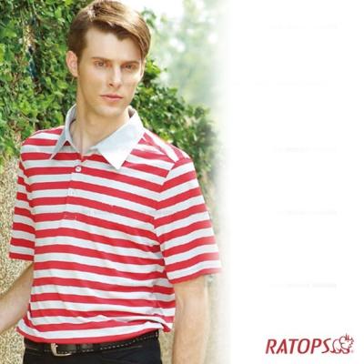 【瑞多仕】男款 平織布領休閒排汗POLO衫_紅白條紋 DB8155 V1