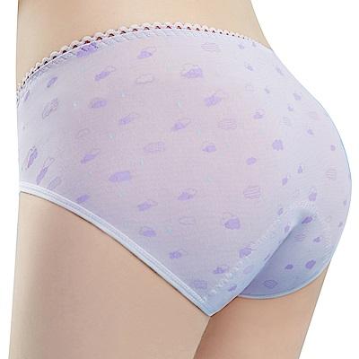 思薇爾-朵朵雲輕甜風系列M-XXL日用低腰生理褲(縞紫色)
