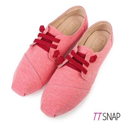 TTSNAP休閒鞋-MIT 小清新綁帶軟Q真皮懶人鞋 紅