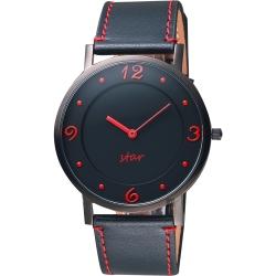 STAR時代 超薄時光手錶-黑x紅時標/38mm