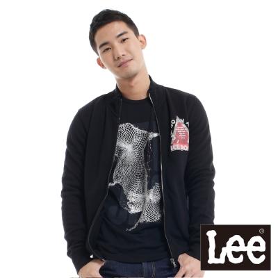 Lee-長袖外套-拉鍊立領刷毛印刷-男款-黑