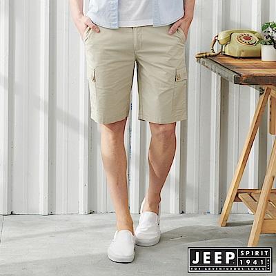 JEEP 經典修身雙口袋休閒短褲-淺灰