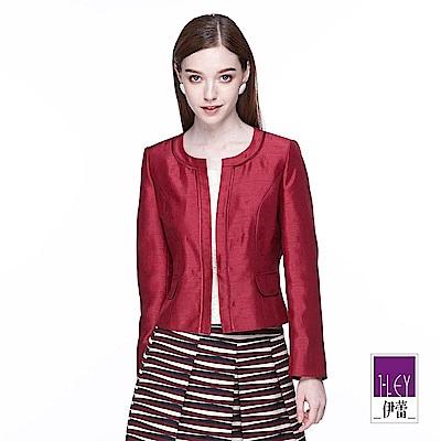 ILEY伊蕾 時尚緞面質感短版外套(藍/紅)
