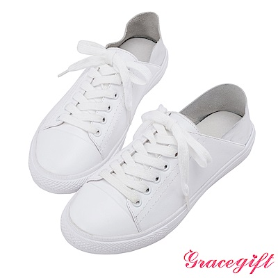 Grace gift-全真皮撞色2way休閒鞋 銀