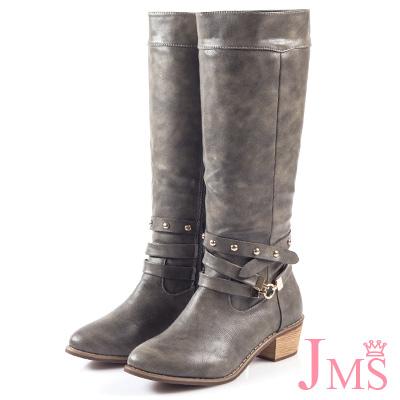 JMS-時尚金屬交叉鉚釘扣環馬蹄跟長靴-灰色