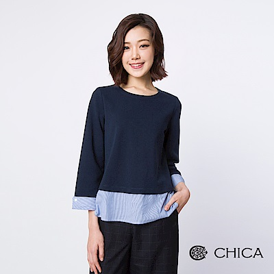 CHICA 恬靜時光異材質拼接設計上衣(2色)