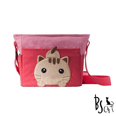 ABS貝斯貓 可愛貓咪拼布 肩背包 斜揹包 (粉) 88-206