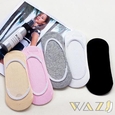 Wazi-白襪口棉質防滑船襪隱形襪 (1組三入)
