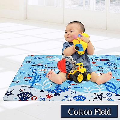 棉花田 魔法空間 法蘭絨印花防滑遊戲毯-海洋(76x117cm)