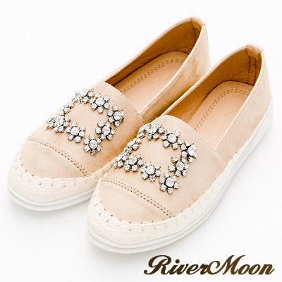 River&Moon大尺碼-蠟筆細絨方扣晶鑽麻編休閒懶人鞋-杏
