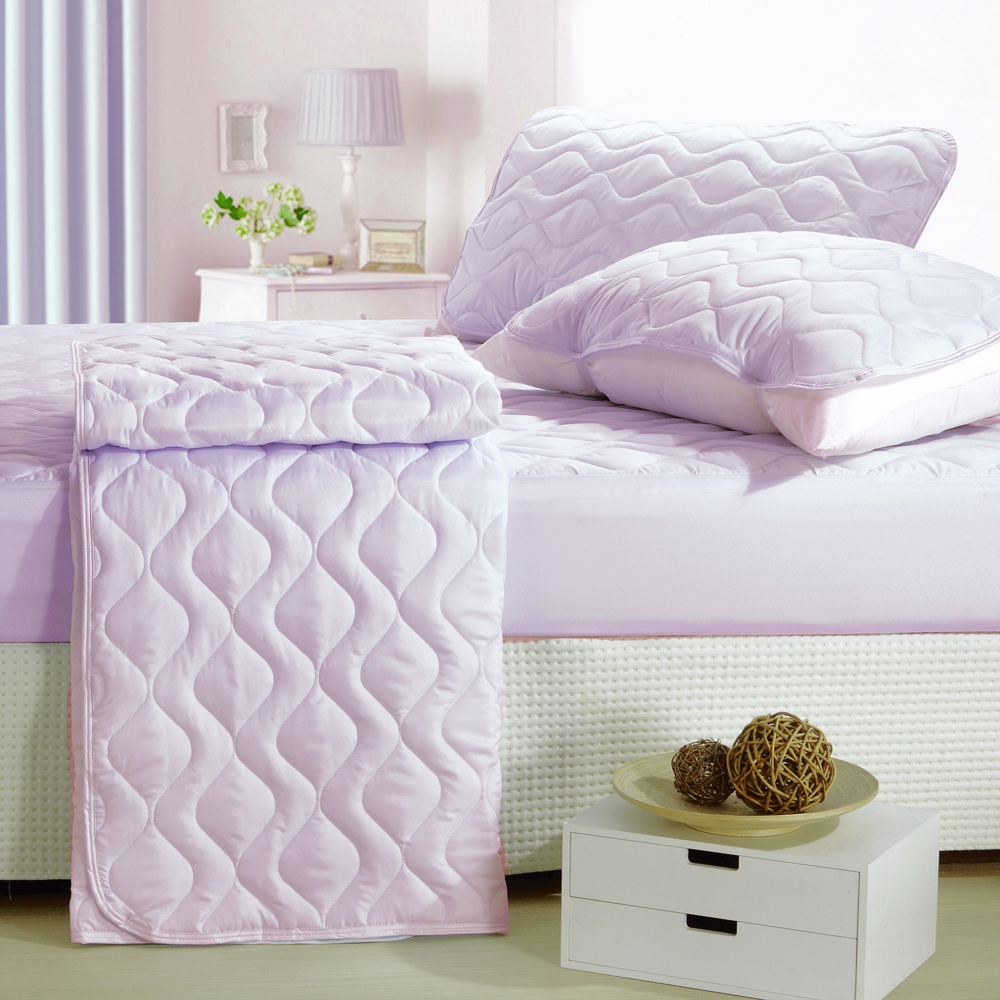 eyah宜雅 台灣製純色加厚舖棉保潔墊床包式雙人-魅力紫