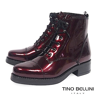 Tino Bellini義大利進口酷勁牛漆皮綁帶軍靴_ 紅