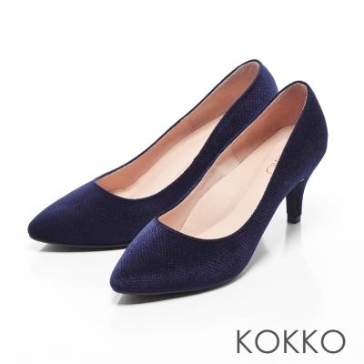 KOKKO-尖頭光感絲絨晚宴手工高跟鞋-深牡丹藍
